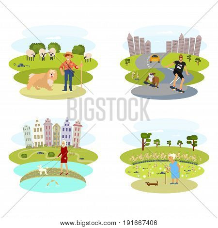 People with Dogs set. Flat Cartoon Character of pet and his owner. Colorful Vector Illustration eps 10