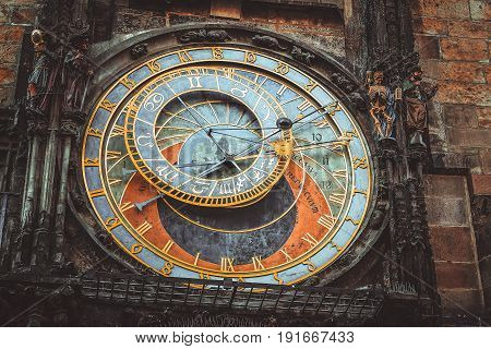 Prague Astronomical Clock. Great plan. Gothic style.