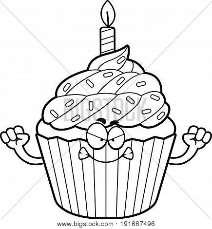 Angry Cartoon Birthday Cupcake