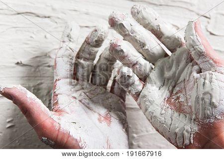 Hand White Plaster Closeup Repair Building Worker Dirty Stucco Construction Unrecognizable Concept