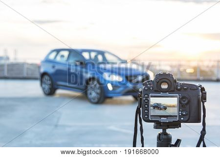 Sankt-Petersburg Russia June 17 2017: Photo camera Nikon D800 taking pictures Volvo XC 60 T6 AWD Polestar on the test-drive in Sankt-Petersburg at June 17 2017