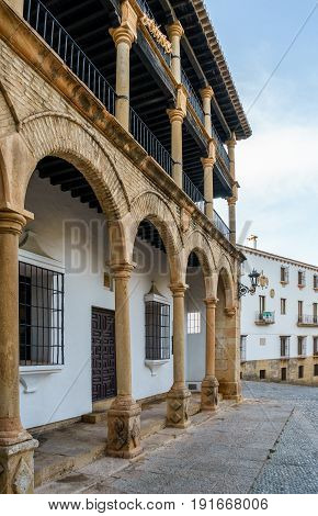 During the reign of Felipe II these balconies were used as Boxes from which nobility would sit and watch jousts and public acts.