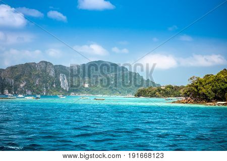 Sea view to Phi Phi island. One of the best landmarks of Thailand