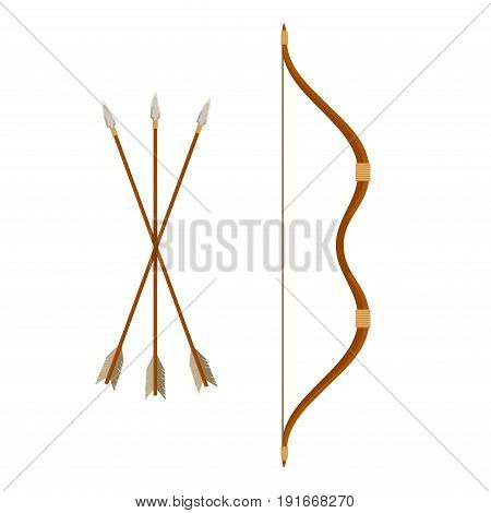 Bow and arrows isolated on white background. Archery or hunter tools. Vector illustration.