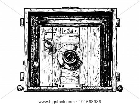 Vector hand drawn sketch of view photo camera in vintage engraved style on white background