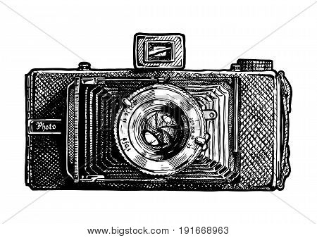 Vector hand drawn sketch of folding camera in vintage engraved style on white background
