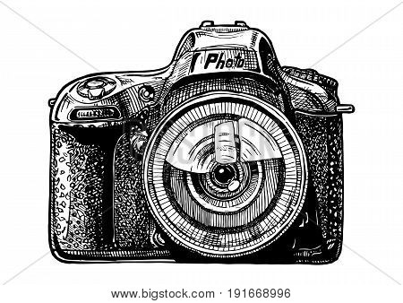 Vector hand drawn sketch of SLR photo camera in vintage engraved style on white background.