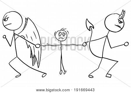 Cartoon vector of angel and devil fighting wrestling for the man
