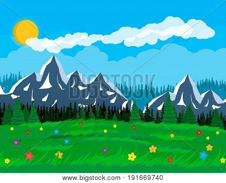 Summer nature landscape with mountains, forest, grass, flower, sky, sun and clouds. National park. Vector illustration in flat style