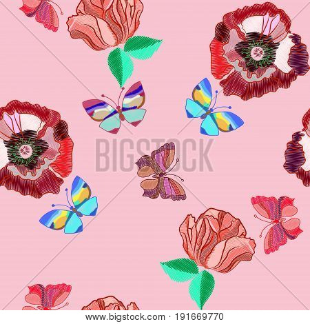 Seamless pattern of colorful embroidered butterfly and colorful embroidered flowers on a pink background vector illustration
