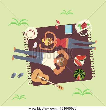 Top view of a couple in love lying on a picnic blanket. Flat cartoon vector illustration eps 10