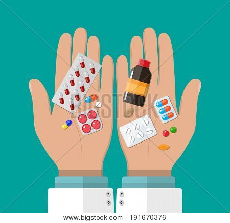 Hand of the pharmacist with pills and drugs. Pharmacy shop. Rx. Vector illustration in flat style