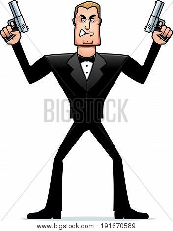 Angry Cartoon Spy In Tuxedo