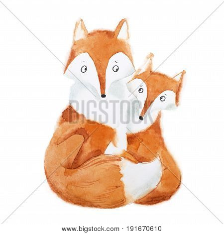 Hand-painted illustration of mother fox and baby sitting together.