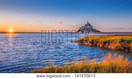 Le Mont Saint-michel At Sunset, Normandy, France