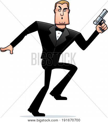 Cartoon Spy In Tuxedo Sneaking