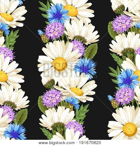 Detailed camomile and cornflower vector seamless background