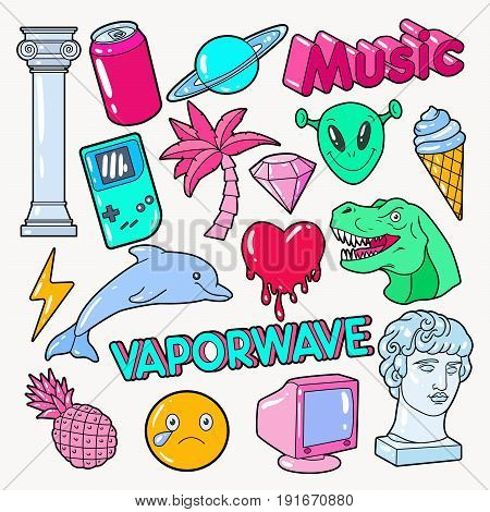 Vaporwave Teenager Style Doodle with Dinosaur, Computer and Ice Cream. Vector illustration