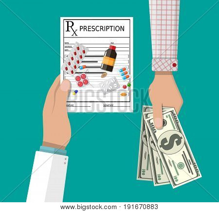 Hand of the pharmacist with Rx prescription, pills and hand of client with money. Buying and selling drugs. Pharmacy shop. Vector illustration in flat style