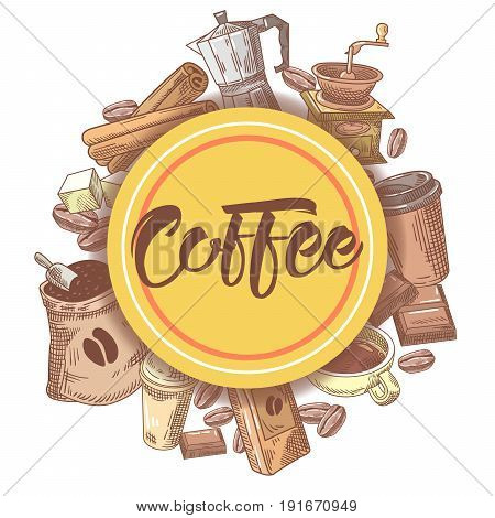 Coffee Hand Drawn Design with Coffee Beans, Sugar and Pot. Food and Drink. Vector illustration