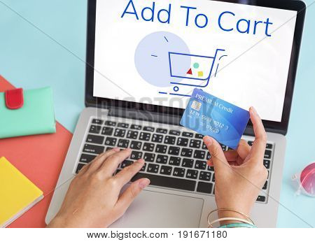 Showing Cart Trolley Shopping Online Sign Graphic