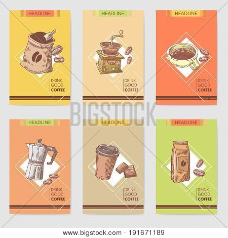 Coffee Hand Drawn Cards Brochure Menu with Coffee Beans, Pot and Chocolate. Food and Drink. Vector illustration