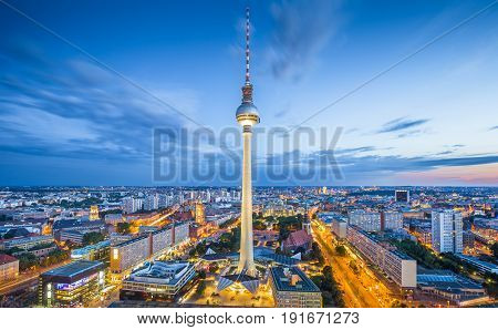 Berlin Skyline Panorama With Famous Tv Tower At Alexanderplatz At Night, Germany