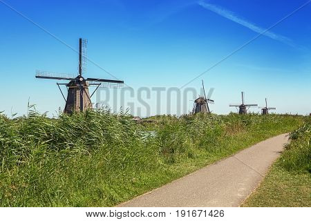 The Kinderdijk mills cover nineteen mills in the northwest of the Alblasserwaard a polder in the province of Zuid-Holland in The Netherlands