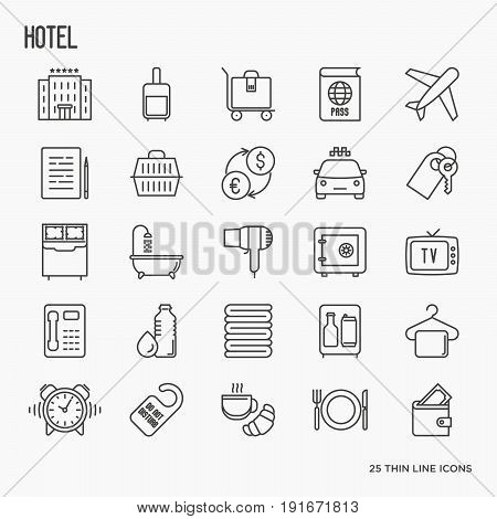 Hotel services, facilities in room thin line icons. Vector illustration.