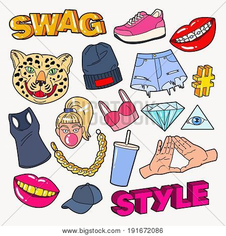 Swag Style Teenage Fashion Doodle with Lips, Hands and Accessories. Vector illustration