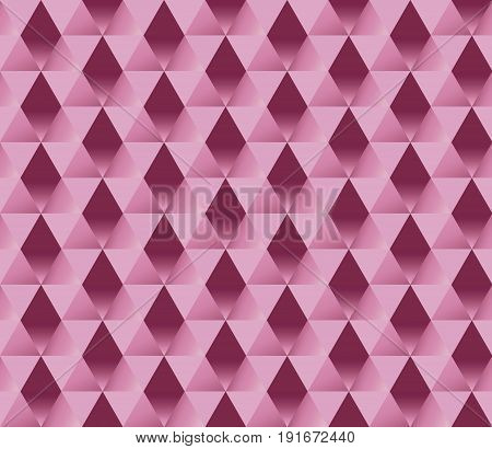 chic wrapping paper seamless pattern with 3d rectangular  illusion. bright pink geometric abstract repeatable motif. geometry feminine wallpaper illustration.