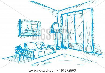 Hand drawn sketch. Linear sketch of an interior. Sketch Line bedrooms. Vector illustration