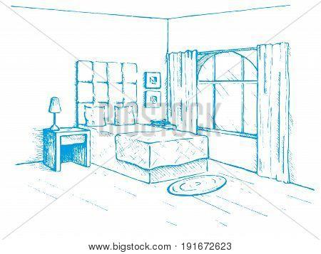 Sketch drawn by a blue pen. Room plan. Sketch Line bedrooms. Vector illustration.