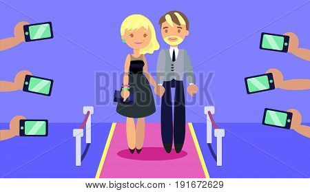 Fashionable couple on red carpet with paparazzi's hands taking photoes with phones. Flat style. Layered illustration. Can be used for motion design or another design project.
