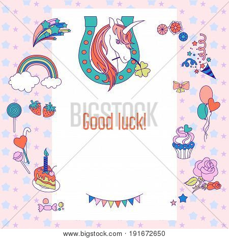 Hand-drawn elements rainbow, unicorn, cloud, stars, flag for patches, stickers, design cards and leaflets Cartoon elements characters