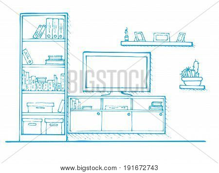 Sketch drawn by a blue pen. Linear sketch of the interior. Bookcase dresser with TV and shelves. Vector illustration