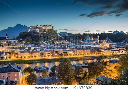 Historic City Of Salzburg At Dusk, Salzburger Land, Austria