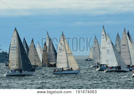 Victoria BC,Canada,May 24th 2014,Yachts line up at the start line for the annual Swiftsure yacht race in Victoria BC.