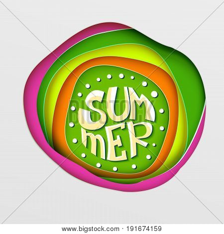 Seasonal vector background. Summer modern lettering. Paper carving styled art. Great for posters, ad, banners. Paper art layers for summer