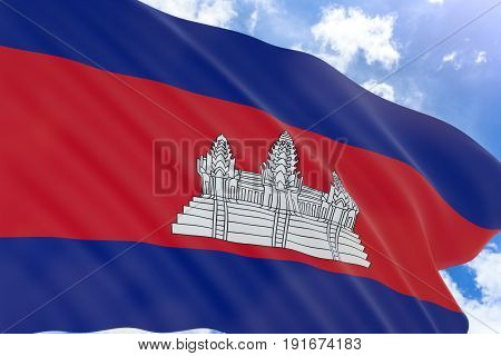 3D rendering of Cambodia flag waving on blue sky background Cambodia is one of the country in South East Asia