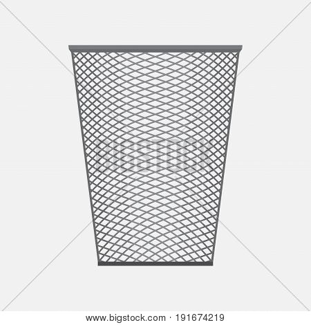 empty basket office accessories metal mesh basket for pens and pencils flat style image