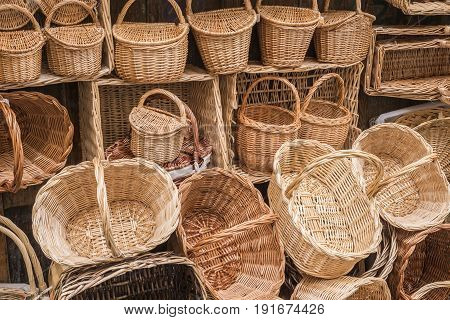 Wicker hand-made baskets at the shop of a touristic street of Segovia Castilla and Leon Spain.