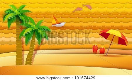 Paper art carving banner with tropical sea waves, beach, palms, slippers and dolphins. Vector illustration in paper cut style. Hot summer vacation, holidays concept.