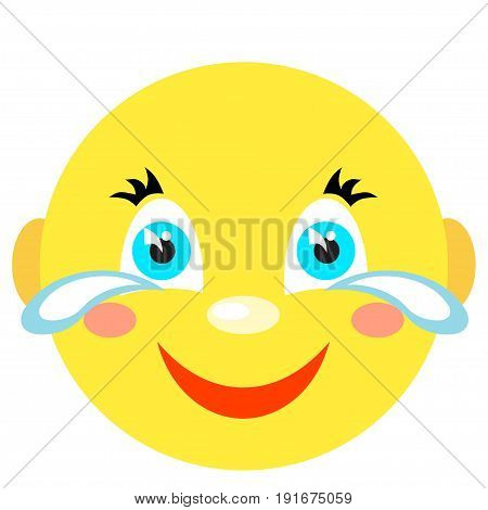 Smiley laughs and cries. Icons on a white background. Vector image in a cartoon style