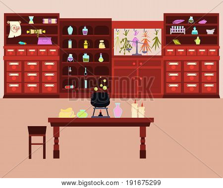 Old Magic Laboratory with potions and a cauldron. Fantasy interior. Vector illustration