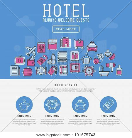 Hotel services concept with thin line icons on city background. Vector illustration for web site or banner.