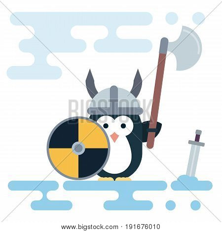 Vector penguin character stylized as a viking warrior with helm shield and sword. Modern flat illustration.