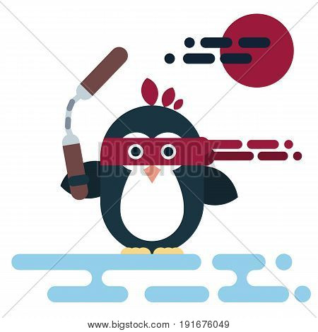 Vector penguin character stylized as a ninja with nunchaku. Modern flat illustration.