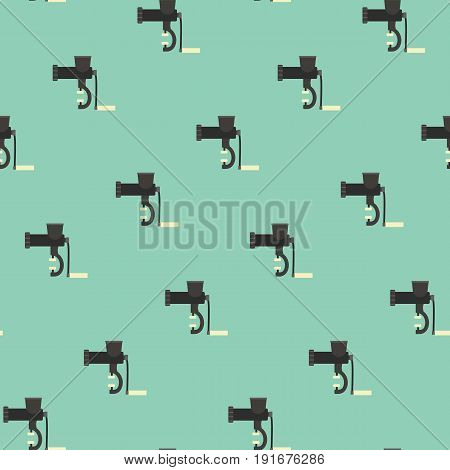 Seamless pattern with handle meat grinder kitchen meat mincer texture