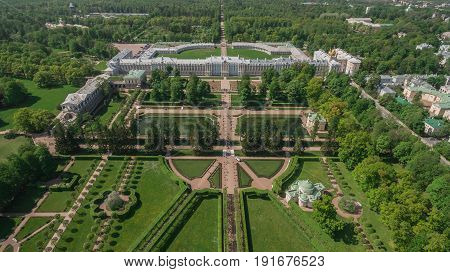 Russia Saint-Petersburg June 2017 - Aerial view of Catherine palace and Catherine park